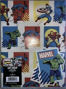 Marvel wrapping paper, Hallmark 2 Sheets and 2 Tags