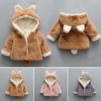 Baby Girl Boy Long Sleeves Hooded Outwear Coat Winter Warm Soft Fluffy Jacket