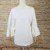 X9 White Counterparts bell sleeve loose top blouse XL cotton stretch