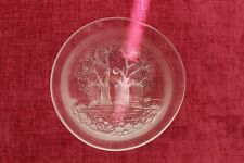 Vintage Glass Bowl with Tree, Flower and Meadow Design