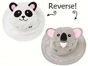 New FlapJack Kids Reversible Sun Hat UPF 50+ PANDA KOALA BEAR Med 2-4 yrs Gray