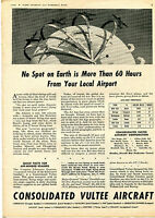 1943 Consolidated Vultee Aircraft Print Ad Quick Facts For Air-Minded Readers