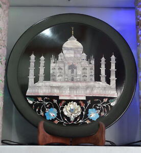 """16"""" Black Marble Serving Plate Taj mahal Turquoise Mother Of Pearl Inlay Gifts"""