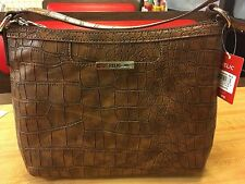 RELIC Caraway Collection Top Zip Tote CHOCOLATE CROCODILE  New!