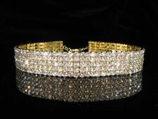 Nupcial Baile de graduación 5 fila hecho con Swarovski Cristal Plateado Oro Sterling Gargantilla BN072G