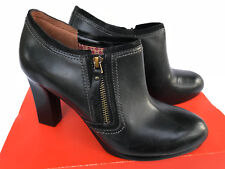 Naturalizer Annabelle Bootie Black Leather Zip High Heels Shoes Women's 9.5 W