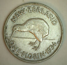 1934 Silver New Zealand 1 Florin 2 Shilling Coin VF