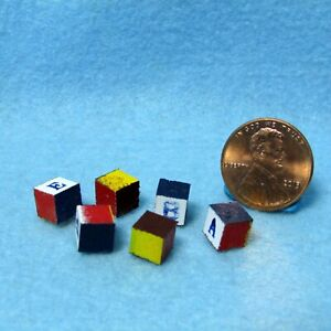 Dollhouse Miniature Childrens Toy Wood Blocks Painted Set of 6  IM65199