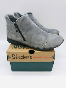 Skechers Women Earthy Chic Relaxed Fit Suede Biker Ankle Boot - Charcoal *