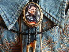 NEW ELVIS PRESLEY BOLO BOOTLACE TIE GOLD METAL, LEATHER CORD WESTERN ROCKABILLY