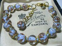 Lilac Venetian Italian Murano Glass Gold Foil Bead Vintage Style BRACELET