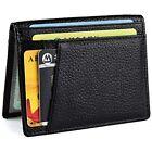 Minimalist Front Pocket Wallet - Genuine Leather Slim Bifold For Men Women