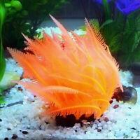 Aquarium Artificial Fake soft Orange Coral Plant Fish Decoration Tank Ornam I9T5