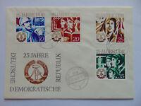 DDR Ganzsache 25 Jahre DDR 1974 mit Komplettsatz Mi 1949 1950 1951 1952