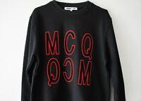 2019 Original MCQ Alexander McQueen Velvet Reverse 3D Logo Black Sweatshirt BNWT