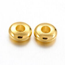 500pcs Gold Plated Brass Metal Beads Rondelle Smooth Loose Spacer Findigns 5x2mm