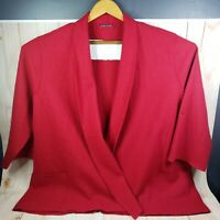 Womens Eileen Fisher XL Solid Red Wool Cardigan Sweater Long Sleeve Button