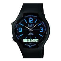 Casio Men's Analogue & Digital Resin Strap Alarm Stop Watch, Black