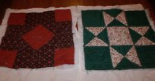 """2 Quilted Blocks with Batting and Flour Sack Backing 14"""" & 15"""" Hand Quilted"""