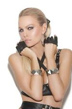 Leather Fingerless Gloves Knuckle Length Short Biker Costume L9422