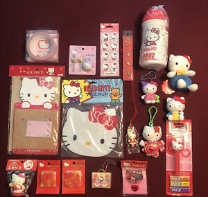 Lot 18 items HELLO KITTY Sanrio (Stamp Stickers Mouse pad Thermos Lock Clip +)