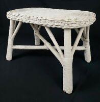 Vintage French Country Wicker Rattan Accent Table Plant Stand Shabby Cottage