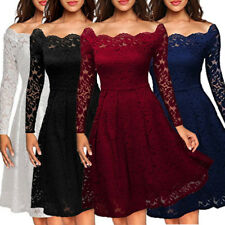 UK Womens Retro Vintage Lace Swing Skater Ladies Party Evening Long Sleeve Dress