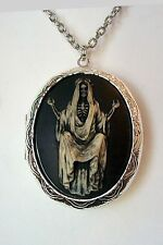 Santa Muerte Day of the Dead SKELETON SKULL painted Cameo PHOTO LOCKET Necklace