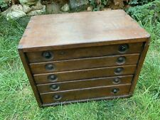 More details for vintage wooden 5 drawer engineers/tool makers cabinet jewellery cabinet