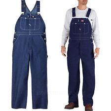 Dickies Bib Overalls Mens Indigo Blue 100% Cotton Denim Jean Pocket Pants 83294