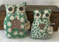 Primitive Ornies GREEN SHAMROCK ST PATTYS DAY OWL Pair Prim Ornies Bowl Fillers