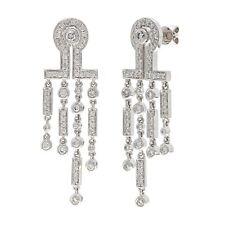 18k White Gold 1.06ctw Diamond Chandelier Dangle Earrings