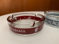 2 Vintage Caesars Palace Casino Las Vegas Nevada Glass Ashtray Greek Blue & Red