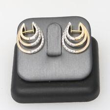 14k Gold Triple Hoop Diamond Crusted Earrings 7 Grams