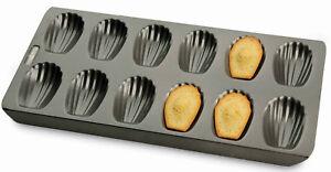 French Madeleine Cake Pan Tin Tray Chicago Metallic 12 Hole 40 x 19cm Non Stick