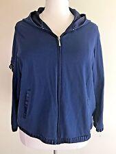 VENEZIA LANE BRYANT Plus Size 22/24 Navy Blue Satin Trim Zipper Jacket Hoodie