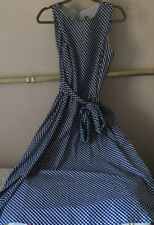 Summery NWT Anne Klein Navy And white Cotton Gingham Long Dress Size 16