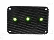 3 HOLE Carbon Fiber LOOK PANEL w/ LED toggle switches - GREEN