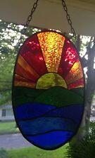 Sunset Stained Glass Window Panel Suncatcher in Stunning Colors 14x9 Oval