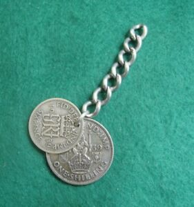 Vintage Silver 1939 Shilling & Sixpence Coin Fob On Sterling Silver Chain