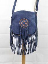 Boho Leather Soft Suede Shoulder Saddle Bag with Tassels and Adjustable Strap