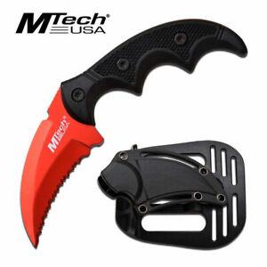 MTech Red Karambit Hawkbill Tactical Survival Serrated Neck Boot Knife + Sheath