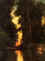 Oil art Thomas Moran - The Borda Gardens, Mexico landscape with people at sunset