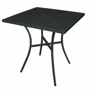Bolero Black Steel Patterned Square Bistro Table 700mm Indoors Outdoors