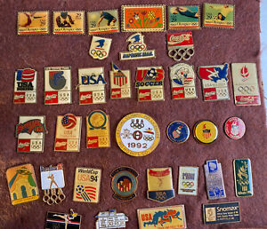 Olympics Pins 36 in Lot  Coca Cola USPS Corporate And More