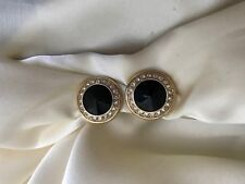 Swarovski Swan Logo Black & Crystal Gold Tone Button Clip Earrings