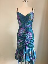 VTG BETSEY JOHNSON Floral Silk Dress Sz 4 Fitted Mermaid Ruched 90s Blue Wiggle