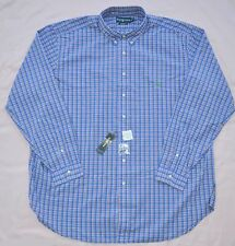 New 3XLT 3XL TALL POLO RALPH LAUREN Mens button down dress shirt blue checks 3XT