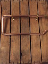 Industrial Copper Pipe & Brass Towel Rail, Holder - Bathroom/Kitchen Accessories