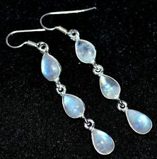 925 Sterling SILVER Rainbow Moonstone Earrings, Pear Drop Genuine Gemstone Gifts